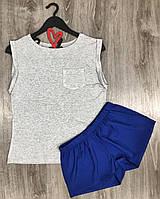 Пижамный комплект хлопковый футболка+шорты 009.