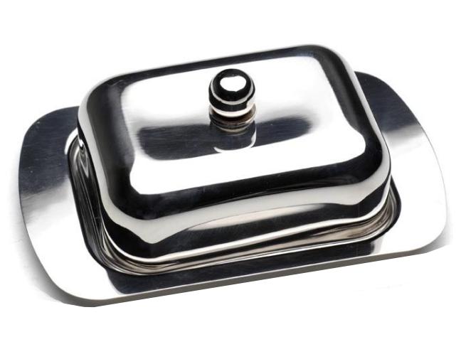 Масленка нержавеющая Berghoff 1106267 | тарелка с крышкой для масла Бергофф, емкость под масло Бергоф