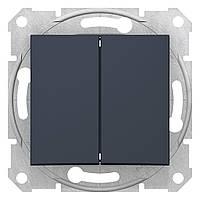 Выключатель двухклавишный Schneider Electric Sedna графит (SDN0300170)