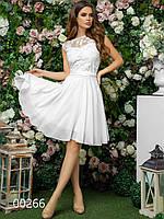 Платье на роспись до колена из шифона и гипюра, 00266 (Белый), Размер 44 (M)