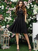 Платье для вечеринки из шифона и гипюра длиной до колена, 00267 (Черный), Размер 46 (L)