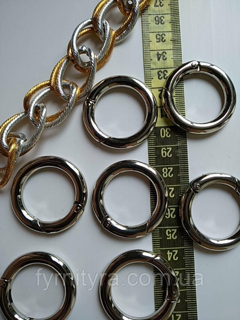 Карабин - кольцо d25мм никель 6мм