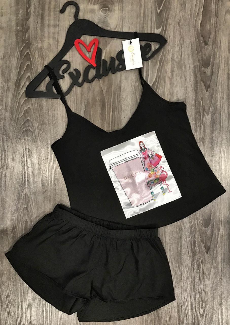 Модный молодежный комплект майка шорты 021-27 черный.