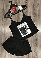 Пижамы женские модные, комплект майка шорты с аппликацией.