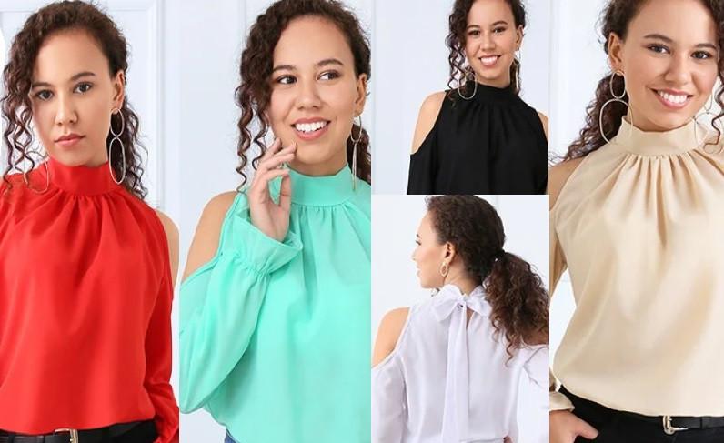 Блуза открытые плечи с бантом сзади  разные цвета 42-44 46-48