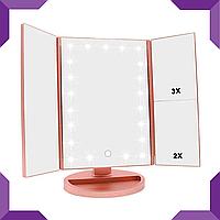 Тройное зеркало со ставнями,Led miror,розовый