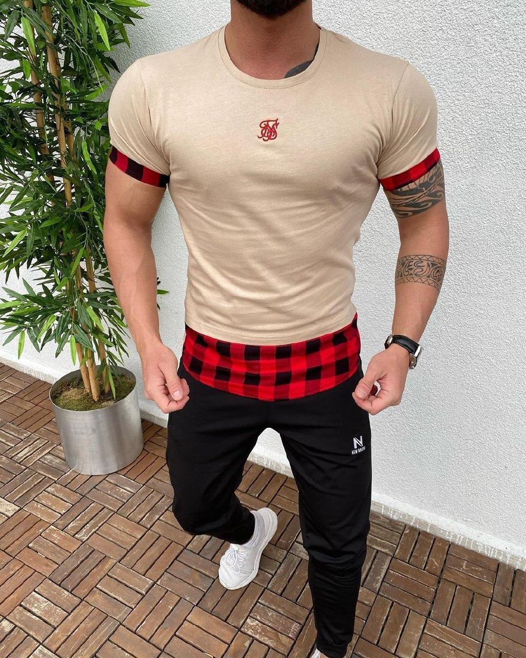 Мужская футболка бежевая Sik Silk GAN5