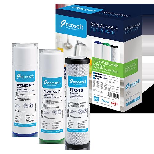 Покращений комплект  картриджів Ecosoft  для потрійних фільтрів (CRV3ECO)