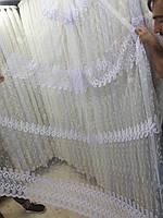 Турецкая тюль на сетке с вышивкой