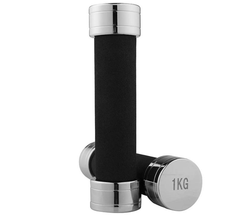 Гантель хромовое покрытие для фитнеса, гриф неопреновая защита, 1 кг, 1 шт.