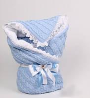 """Зимний конверт-плед """"Змейка"""" вязаный косами для новорожденного мальчика, фото 1"""
