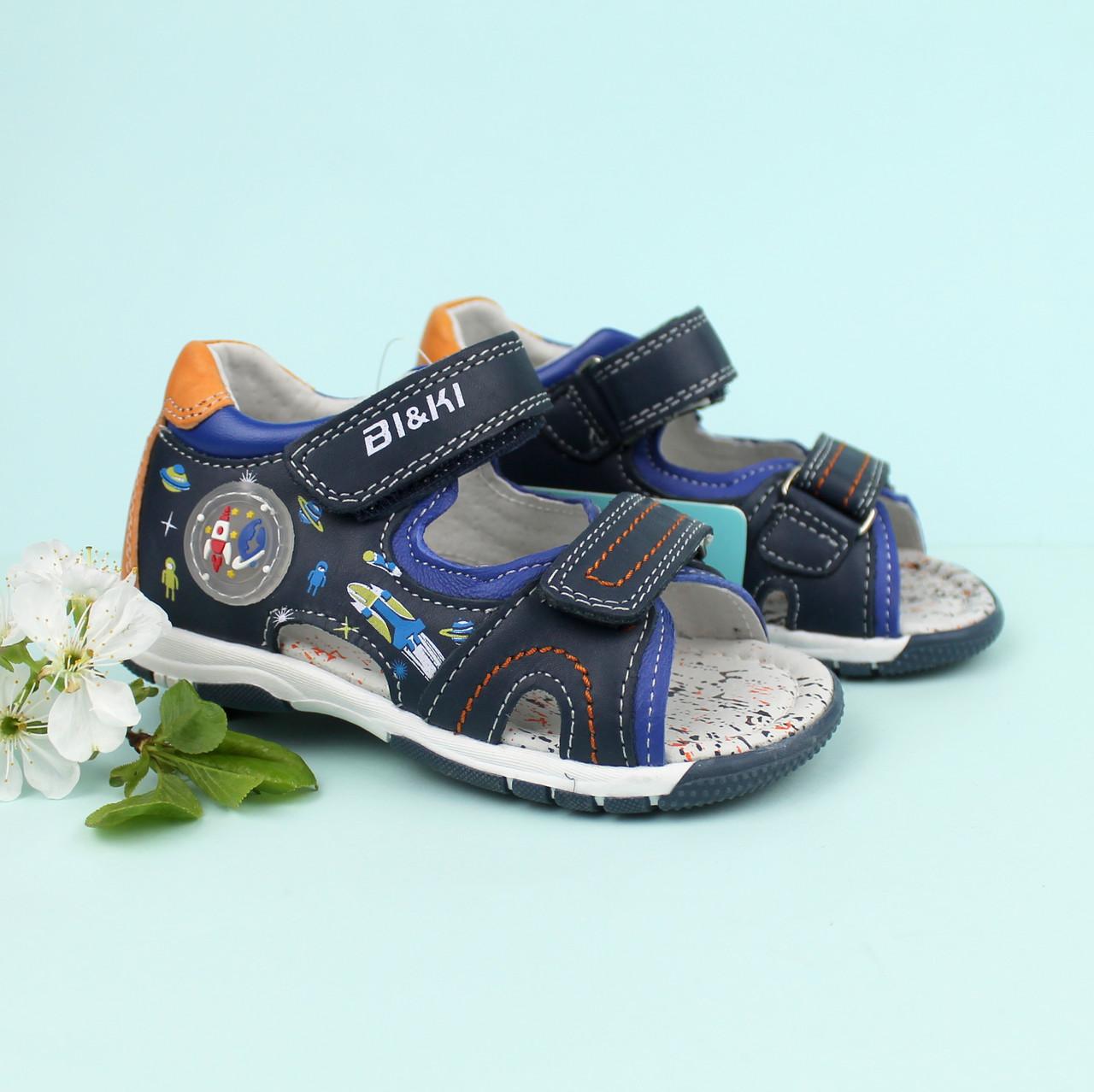 Кожаные босоножки для мальчика Bi&Ki серия детская летняя обувь р.21,22,24