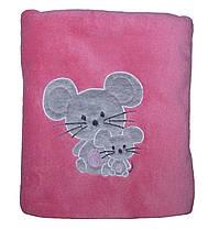 Махровый плед покрывало детский с вышивкой В143-38 Мышата Розовый микрофибра, 95 см х 90 см