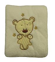 Махровый плед покрывало детский с вышивкой В143-38 Мишка Молочный микрофибра, 95 см х 90 см