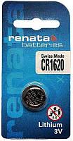 Батарейка дисковая Renata CR 1620 Lithium, 3V
