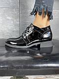 Жіночі туфлі шкіряні весна/осінь чорні-лак DARINI 215, фото 4