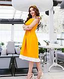 Льняной желтый пышный сарафан с рюшами, фото 2