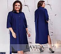 Трикотажное свободное женское ассиметричное платье больших размеров 50-64 арт 8302