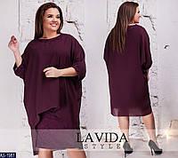 Нарядное свободное платье с гипюром и шифоновой накидкой размеры батал 50-64 арт 8303