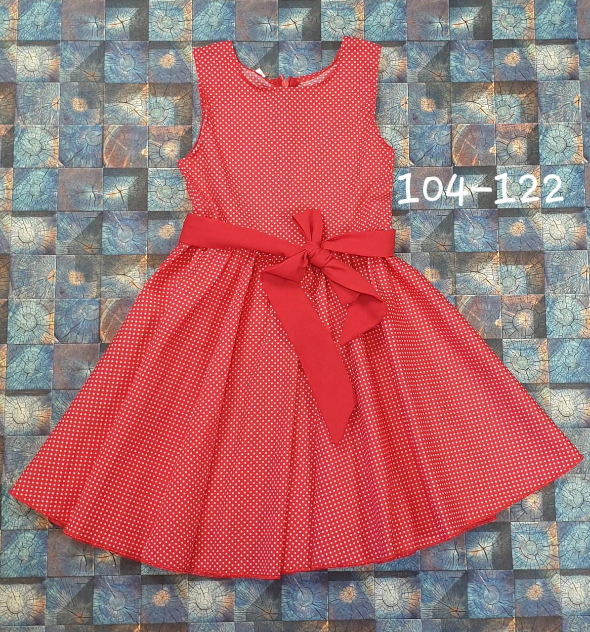 Платье в горошек для девочки Фея 104-122 красный