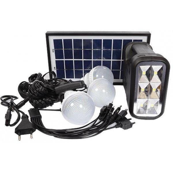 Портативная аккумуляторная система с солнечной панелью и лампочками GDLIGHT GD-8017B