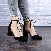 Туфли женские черные на каблуке Krissy 1715
