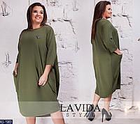 Удобное повседневное платье в стиле бохо больших размеров 50-64 арт 8234