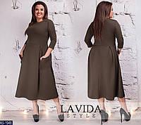 Трикотажное расклешенное женское платье с карманами размеры батал 50-64 арт 8299