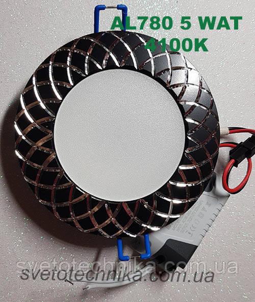 Светодиодный светильник Feron AL780 5W 4000К (корпус - черный)