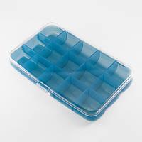 Контейнер для Бисера и Бусин, Пластик, Цвет: Голубой, Прямоугольный, Размер: 150x92x25мм/ Упак.: 1 шт