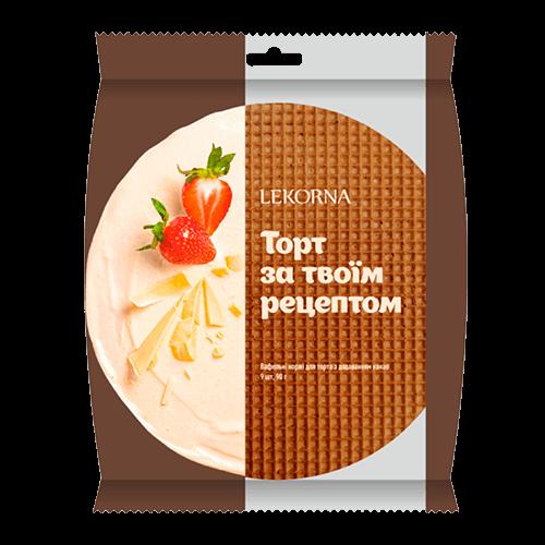 """Вафельні заготовки коржi для торта великi  """"Лекорна"""" 90г з какао"""