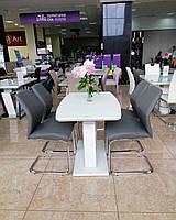 Раздвижной стол TMM-50-2 Vetro Mebel 110/150, матовый белый