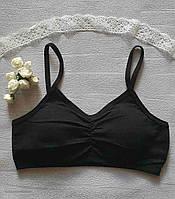 Топик для девочки  (BIYO  Турция),черного цвета на тонких бретелях с поролоном(съемный),10,12,14 размер.