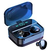 Беспроводные сенсорные наушники гарнитура в кейсе с павербанком с влагозащитой Amoi X7 Bluetooth Черные
