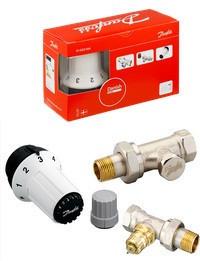 """Комплект радиаторных терморегуляторов Danfoss 1/2"""" прямой, RA-FN+RAS-C+RLV-S. Арт. 013G5254"""