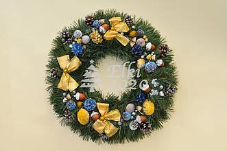 """Новогодний рождественский венок с декором """"Зототые банты"""""""