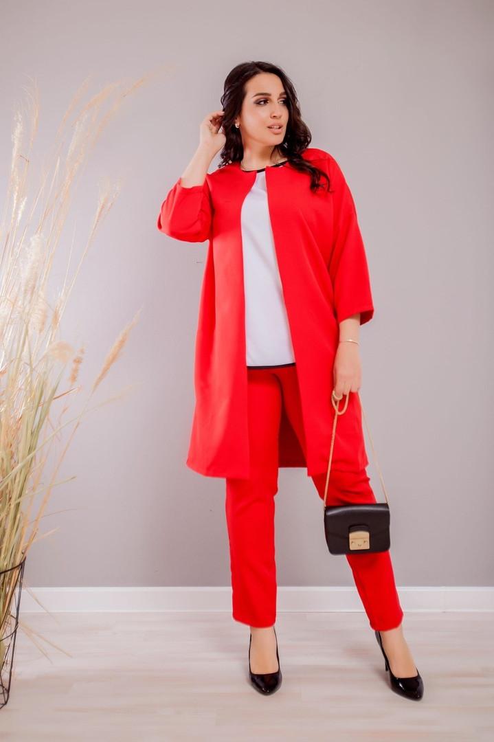 Женский красный брючный костюм с удлиненный пиджаком больших размеров 48-62