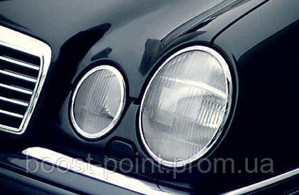 Хром накладки на передние фары - очки Mercedes-benz e-class (w210) (мерседес-бенц е-кл. 1995-2010) АБС-пластик
