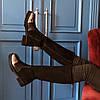 Кожаные теплые сапоги Tucino (бронза кожа и черный замша)