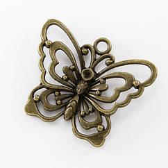 Кулон Бабочка, Металл, Цвет: Бронза, Размер: 48х28мм, 1 шт