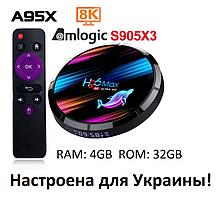 Smart TV Приставка Smart TV H96 Max X3,  4gb/32гб Amlogic s905x3 Android 9 (4/32 GB ) Настроена