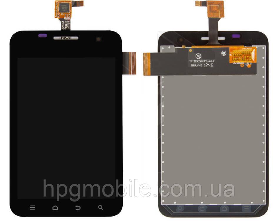 Дисплей для ZTE V788d 3G, модуль в сборе (экран и сенсор), черный, оригинал