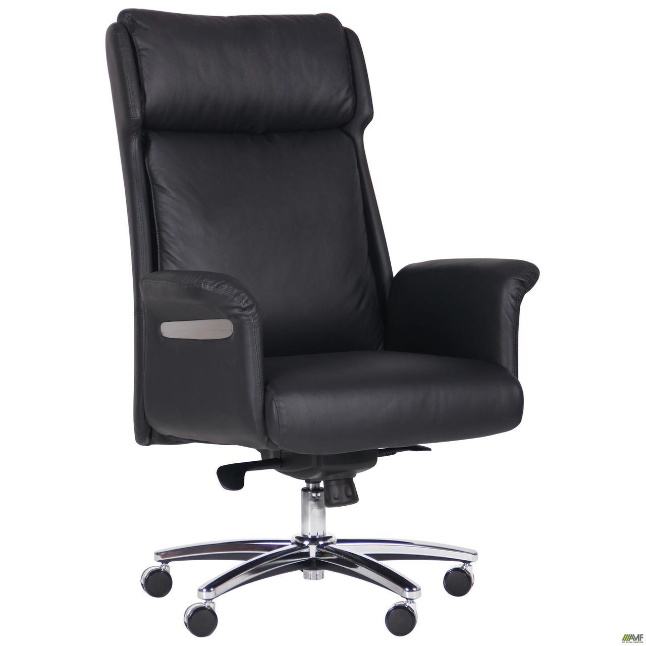 Кресло офисное кожаное AMF Truman Black чёрное