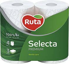 """Папір туалетний """"Ruta"""" Selecta 4рул 3ш білий"""