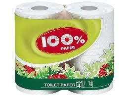 """Папір туалетний """"100% Paper"""" 4рул 2ш білий"""