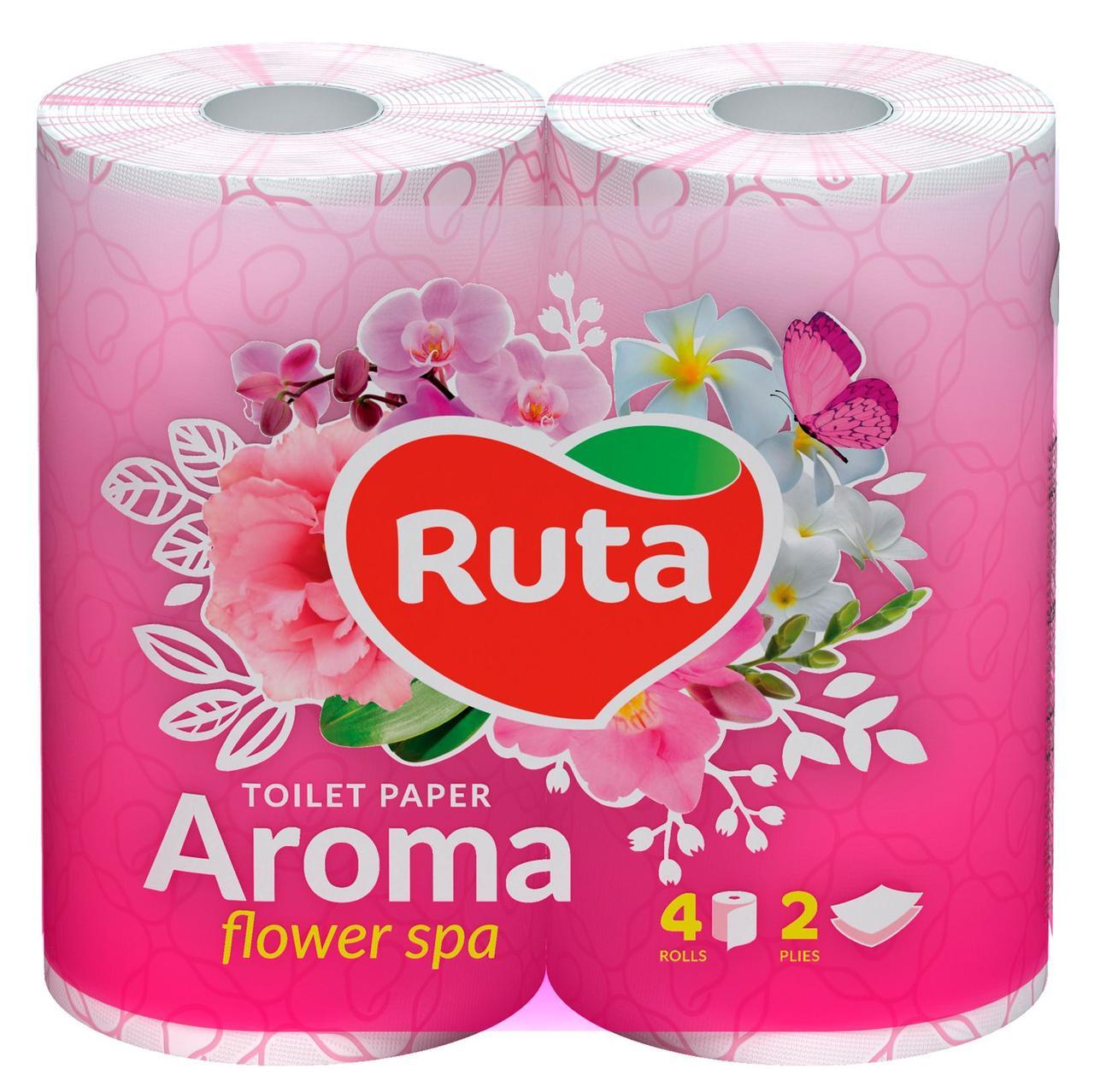 """Папір туалетний """"Ruta"""" Aroma Flower 4рул 2ш рожевий ароматизований"""