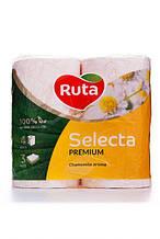 """Папір туалетний """"Ruta"""" Selecta 4рул 3ш білий з ароматом ромашки"""