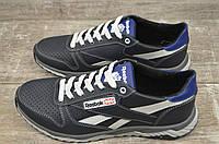 Чоловічі шкіряні кросівки Reebok, чорні, весна-літо (перфорація)