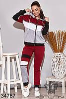 Женский стильный спортивный костюм,бордовый NEW! 48-50 52-54