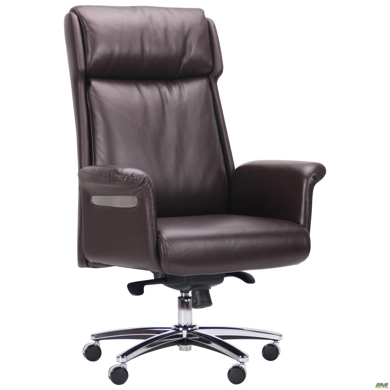 Кресло офисное кожаное AMF Truman Brown коричневое